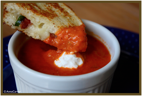 Spicy Sun Dried Tomato Soup and Grilled Cheese with Bacon, Basil and ...