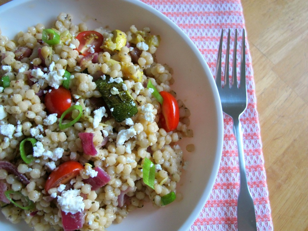 Israeli Couscous with Roasted Vegetables and Creamy Greek Dressing